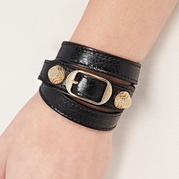 89d961c425922 BALENCIAGA Arena Leather Double Tour Wrap Bracelet